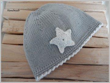 Babymütze, Kindermütze aus 100 % Baumwolle handgestrickt in grau - Handarbeit kaufen