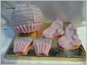 Frühchen-Set, Mütze, Socken und Pulswärmer für Mädchen in rosa - Handarbeit kaufen