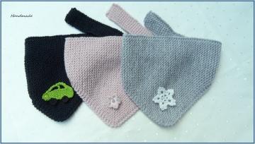 Babyschal, Dreieckstuch grau, rosa, Wolle (Merino), handgestrickt - Handarbeit kaufen