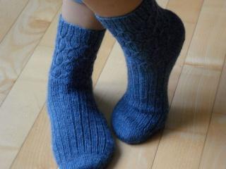 Wollsocken, Stricksocken handgestrickt in jeansblau, Größe: 37/38 - Handarbeit kaufen