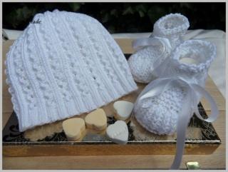 Taufset, Babymütze, Babyschuhe, weiß, aus Baumwolle handgestrickt - Handarbeit kaufen