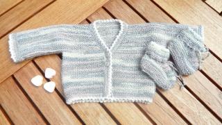 Handgestrickte Frühchenjacke, Babyschuhe, und Babymütze,Größe 44  - Handarbeit kaufen