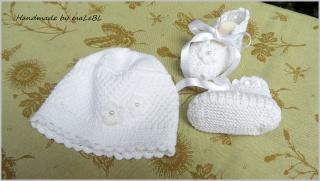 Baby-Set,  Taufmütze, Taufschuhe, Tauf-Set aus  Baumwolle handgestrickt kaufen  - 1388