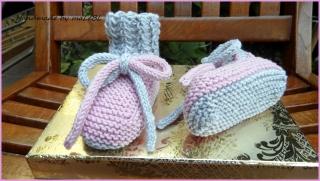 Gestrickte Babybschuhe Gr. 3-6 Mon. rosa grau aus Wolle (Merino)  - Handarbeit kaufen