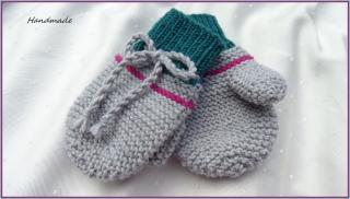 Kinderhandschuhe, 100 % Wolle (Merino), handgestrickt, 2-3 Jahre - Handarbeit kaufen