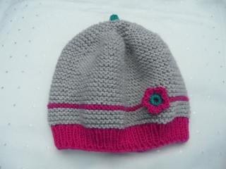 Handgestrickte Babymütze aus Wolle (Merino) in grau, pink - Handarbeit kaufen