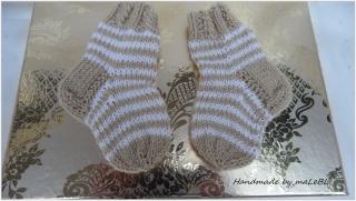 Wollsocken für Neugeborene, Ringelsöckchen aus Wolle (Merino) - Handarbeit kaufen