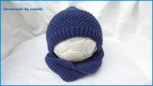 Baby-Set Babymütze Babyrundschal Loop aus 100 % Schurwolle (Merino) in jeansblau. Auf toll als Geschenk zur Taufe - 1250