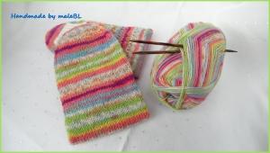 Wollsocken handgestrickt, bunte Socken die Spaß machen aus hochwertiger Sockenwolle gestrickt, Größe 38/39 - 1392