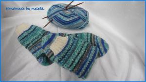 Handgestrickte Wollsocken, Stricksocken grün/blau, Größe nach Wahl - Handarbeit kaufen