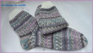 Wollsocken, gestrickt aus hochwertiger Sockenwolle, Größe 38/39, handgestrickt - 1263