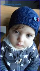 Gestrickte Mütze für Jungen, dunkelblau, 100 % Baumwolle - Handarbeit kaufen