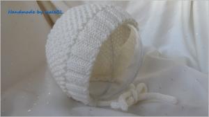 Babymütze - Babyhaube für Neugeborene - Taufmütze - Merino-Wolle - weiß