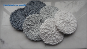 6 Abschminkpads, Kosmetikpads, waschbar, doppellagig, grau, weiß - Handarbeit kaufen