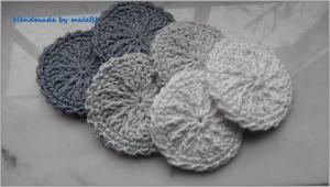 6 Abschminkpads, Kosmetikpads, waschbar, doppellagig, grau, weiß