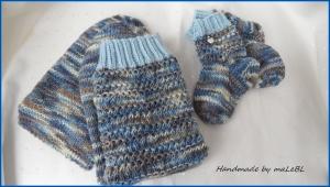 Babysocken und Mamasocken, handgestrickt, blau