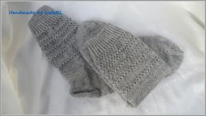 Wollsocken, Socken, Stricksocken handgestrickt in grau