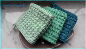 Handgestrickte Waschlappen, Seifentuch aus Baumwolle, Mint, Grün - Handarbeit kaufen
