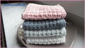 Waschlappen, Seifentuch, handgestrickt aus Baumwolle, Farbe nach Wahl - Handarbeit kaufen