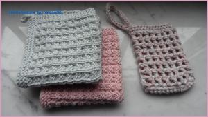 Beauty-Set: 2 Waschlappen, 1 Seifensäckchen, rosa, grau - Handarbeit kaufen