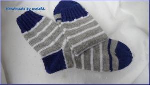 Wollsocken handgestrickt,  Socken Gr. 42/43, grau, blau - Handarbeit kaufen