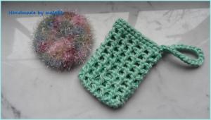Seifensäckchen, Seifenbeutel mit Peelingpad in Mint - Handarbeit kaufen