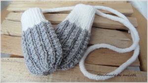 Babyhandschuhe, Babyfäustlinge – gestrickte Kordel - Wolle - Handarbeit kaufen