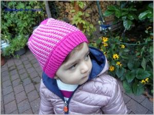 Kindermütze, Mütze für Mädchen, handgestrickt in Pink, Rosa - Handarbeit kaufen