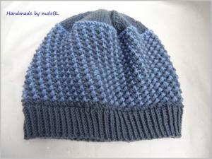 Kindermütze, handgestrickt aus Wolle (Merino) blau - Handarbeit kaufen