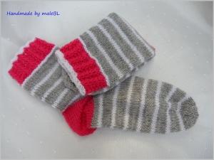 Wollsocken für Mädchen, Kindersocken in grau, pink, weiß - Handarbeit kaufen