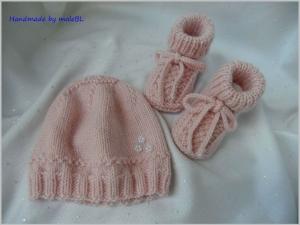 Neugeborenenset für Mädchen, handgestrickt aus Wolle (Merino), Cashmere - Handarbeit kaufen