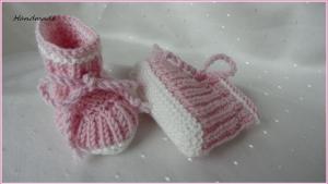 Babyschuhe für Frühgeborene aus Wolle (Merino), Rosa, Grau, Blau - Handarbeit kaufen
