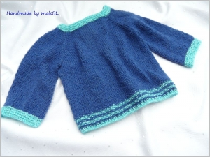 Babypullover, handgestrickt, blau, Gr. 62, 2-4 Mon. - Handarbeit kaufen