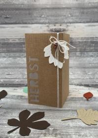 Papier Windlicht/Laterne Herbst Craft / braun, Blätter, Eichel
