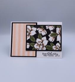 Glückwunsch Karte zum Geburtstag Magnolie rosa schwarz grün floral