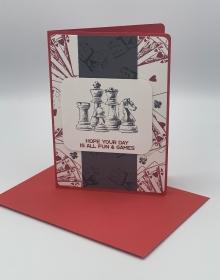 Glückwunschkarte zum Geburtstag Schach Würfel Karten Skat Würfel Spiel rot grau weiß