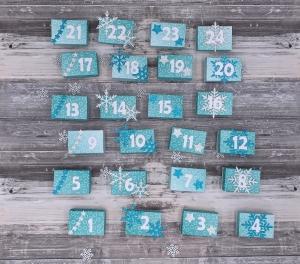 Mini Adventskalender zum Befüllen Schneeflocken Sterne petrol blau silber weiß