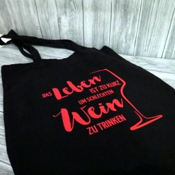 Beutel Wein Stoffbeutel Jutebeutel Spruch schwarz Tasche