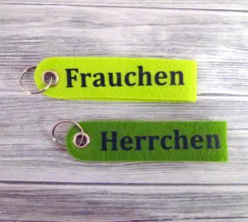 Schlüsselanhänger Herrchen Frauchen Hund grün