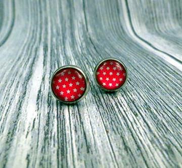 Ohrringe Ohrstecker mit kleinen Sternen in rot weiß