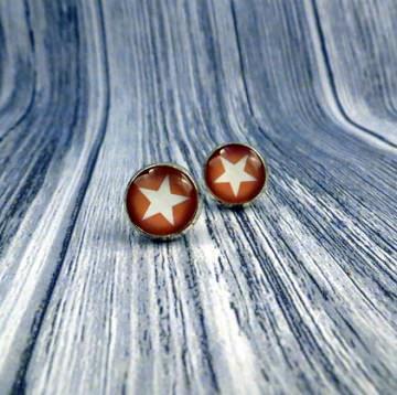 Ohrringe Ohrstecker mit einem Stern in braun weiß