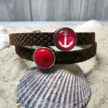 Armband Lederarmband Wickelarmband Anker Maritim