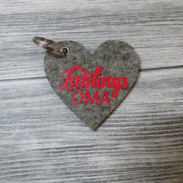 Schlüsselanhänger Herz Lieblings Oma Großeltern grau