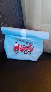 Lunchbag, Frühstückshüter, Brotdose, Feuerwehr, bestickt