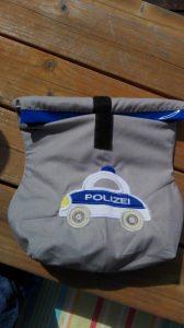 Lunchbag, Frühstückshüter, Brotdose,Polizei, Polizeiauto,  bestickt