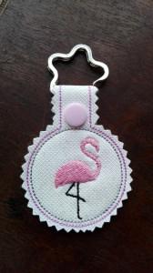 Schlüsselanhänger,  Taschenbaumler, Kunstleder,  Flamingo