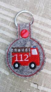 Schlüsselanhänger,  Taschenbaumler, Filz, Feuerwehr