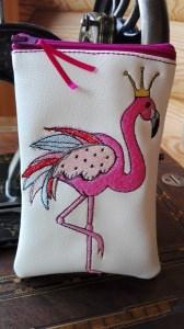 Handytasche, Handyhülle, Brillenetui aus Glitzer  Kunstleder, Flamingo