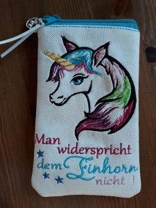 Handytasche, Handyhülle, Brillenetui aus Glitzer  Kunstleder,  Einhorn, Unicorn, Spruch