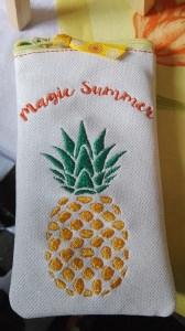 Handytasche, Handyhülle, Brillenetui aus Glitzer  Kunstleder, Ananas , Magic Summer,